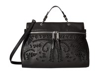 Ivanka Trump Harper Satchel Black Eyelet Leather Satchel Handbags