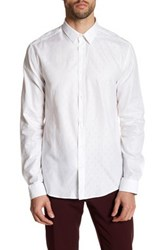 Versace Dotted Long Sleeve Trim Fit Shirt White
