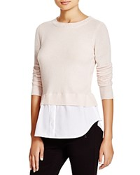 C By Bloomingdale's Cashmere Shirttail Sweater Nude With White Poplin