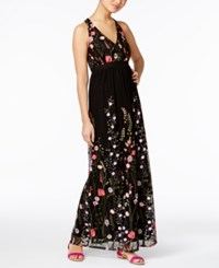 Inc International Concepts Embroidered Open Back Maxi Dress Only At Macy's Deep Black