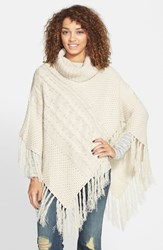 Junior Women's Woven Heart Cable Knit Cowl Neck Poncho