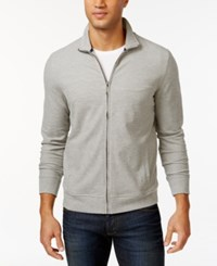 Club Room Big And Tall Long Sleeve Pique Fleece Jacket Only At Macy's Light Grey Heather