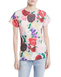 Libertine Crewneck Cap Sleeve Painted Flowers Tee Multi