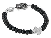 King Baby Studio Faceted Onyx Bracelet W Pave Cross Silver