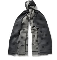 Paul Smith Polka Dot Degrade Wool Scarf Black