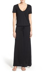 Women's Caslon Drawstring V Neck Jersey Maxi Dress Black