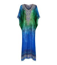 Elizabeth Hurley Beach Crystal Embellished Kaftan Maxi Female Multi