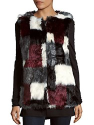 Candc California Faux Fur Vest Grey Red