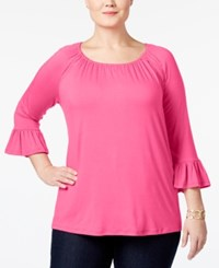 Inc International Concepts Plus Size Bell Sleeve Peasant Top Only At Macy's Pink Lightning