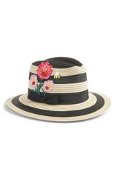 Kate Spade New York Blossom Embroidered Straw Trilby Black