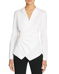 Lafayette 148 New York Odetta Tucked Faux Wrap Blouse White