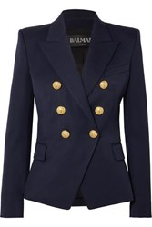Balmain Double Breasted Wool Twill Blazer Navy