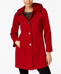 London Fog Hooded A Line Raincoat Laquer Red