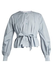 See By Chloe Balloon Sleeved Cropped Cotton Shirt Light Blue