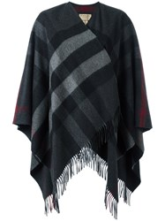 Burberry Fringed Knitted Poncho Grey
