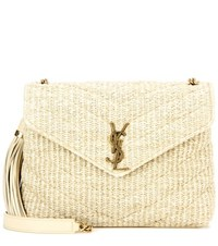 Saint Laurent Monogram Small Soft Raffia Shoulder Bag Beige