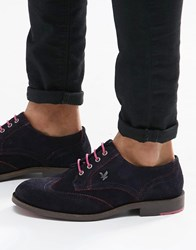 Lyle And Scott Yarrow Brogues In Suede Blue