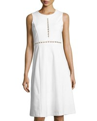 Catherine Malandrino Sleeveless Beaded Trim Knit Dress White