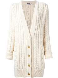 Chanel Vintage Pearl Embroided Cable Knit Cardigan Nude And Neutrals