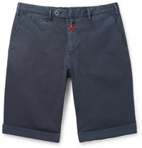 Isaia Slim Fit Stretch Cotton Twill Shorts Navy