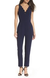 Adelyn Rae Scallop Neck Jumpsuit Navy