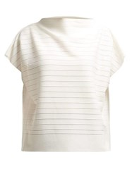 Issey Miyake Woody Panelled Stretch Jersey Top White