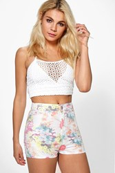 Boohoo Floral Denim Tube Shorts Multi