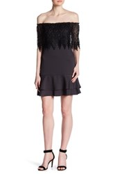 19 Cooper Off The Shoulder Lace Shift Dress Gray