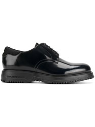 Emporio Armani Classic Lace Up Shoes Leather Patent Leather Rubber Black
