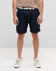 Esprit Chino Shorts With Woven Belt Navy