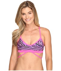 Tyr Glitch Twistfit Top Pink Purple Women's Swimwear