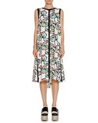Marni Floral Print Dress With Contrast Piping White Black