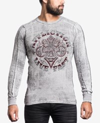 Affliction Men's Graphic Print Thermal Shirt White Black