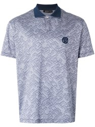 Versace Patterned Polo Shirt Blue