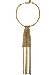 Lanvin Long Chain Fringe Necklace Yellow And Orange