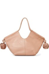 Ulla Johnson Lali Mini Pompom Embellished Leather Tote Blush