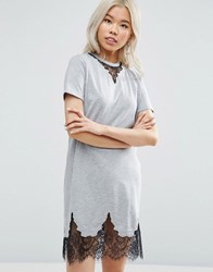 Asos T Shirt Dress With Lace Inserts Grey Marl
