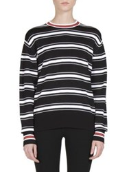 Givenchy Striped Side Zip Detail Sweater Black White