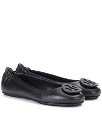 Tory Burch Minnie Leather Ballerinas Black