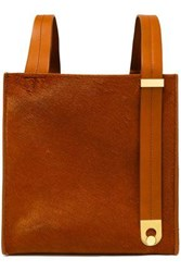 Sophie Hulme Woman Exchange Cube Leather Trimmed Calf Hair Tote Camel