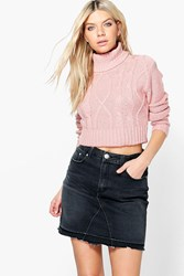 Boohoo Keira Cable Knit Turtle Neck Crop Jumper Blush
