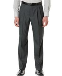 Perry Ellis Double Pleated Classic Fit Sharkskin Dress Pants Charcoal
