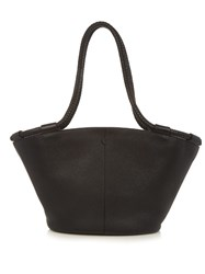 The Row Market Braided Handle Grained Leather Tote Black