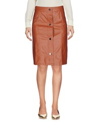 Cutie Knee Length Skirts Brown