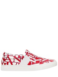 Lanvin 20Mm Logo Leather Slip On Sneakers Red