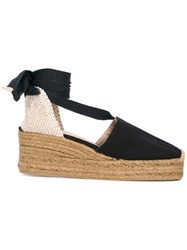 Castaner Platform Espadrilles Women Leather Canvas Rubber 39 Black