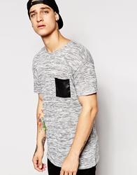 Pull And Bear Pullandbear T Shirt In Marl With Faux Leather Pocket Grey