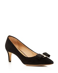 Salvatore Ferragamo Emy Suede Pointed Toe Mid Heel Pumps Black Gold
