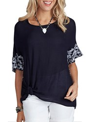 Democracy Embroidered Short Sleeve Woven Top Navy