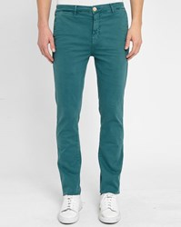 M.Studio Petrol Blue Noa Fitted Cotton Chinos